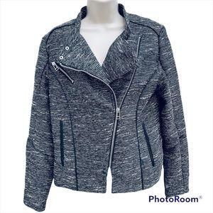 H&M Moto zip jacket long sleeve tan black silver tweed  polyester material